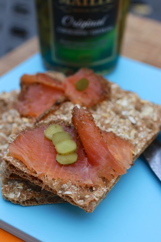 pastrami salmon on cracker