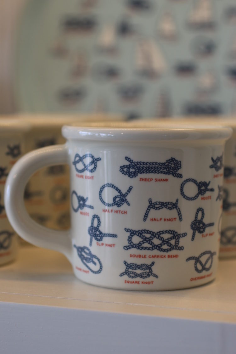 Ceramic Mug with examples of knots from Fishs Eddy
