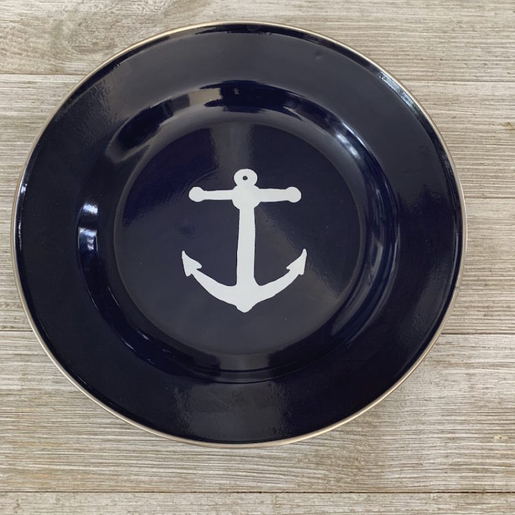 Navy Blue Enamelware Dinner or Serving Plate with White Anchor in Center