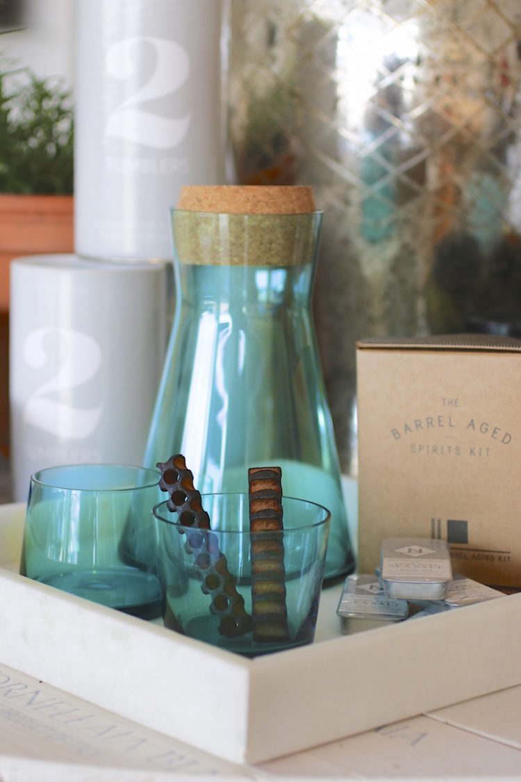 Shoal Blue Avva Carafe from Teroforma with Cork Lid which Doubles as a small dish