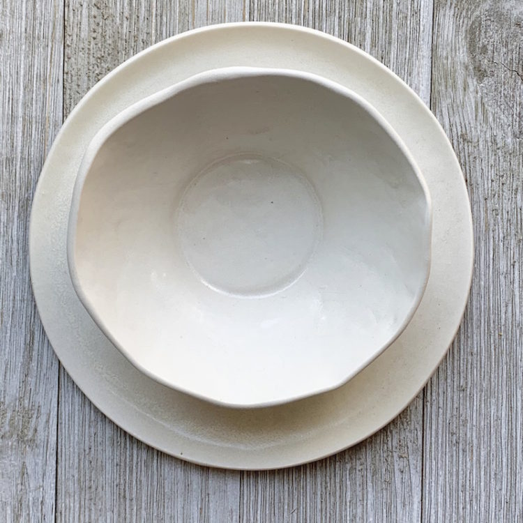 Hand Formed Porcelain Soup Bowl and Salad Plate from DBO Home
