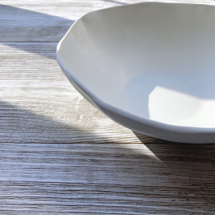 Hand Formed Porcelain Noodle Bowl from DBO Home in snowflake color