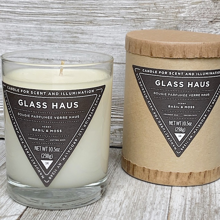 Coconut Wax Candle in Basil & Moss called Glass Haus from Haus Interior