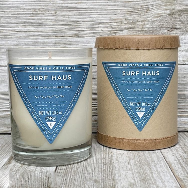 Coconut Wax Candle with 60 hour burn time. Smells like Summer. Glass Jar. Surf Haus.