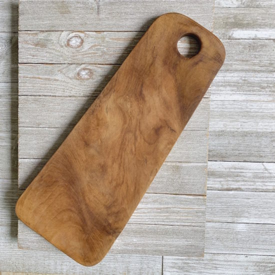 Teak Root Cutting Board in Rectangular Shape with Rounded Edges