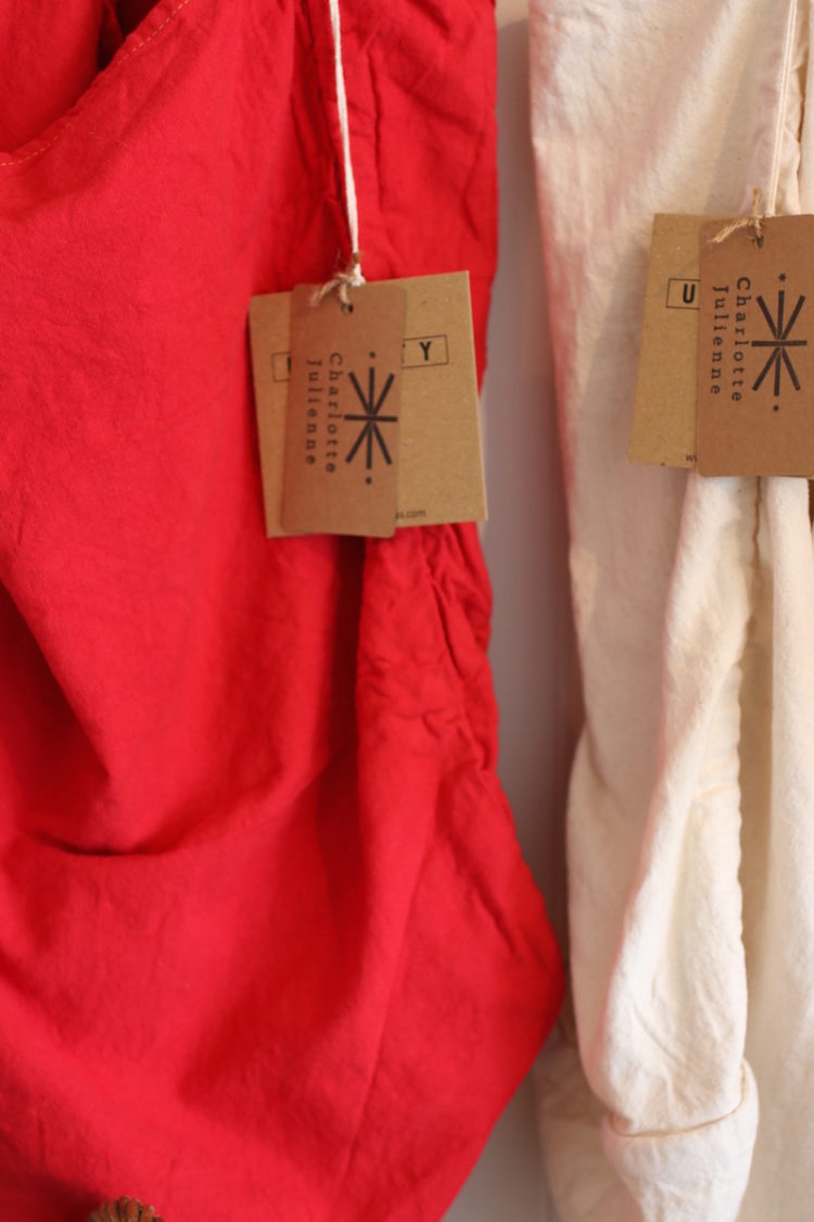 Red and White Canvas Tote Bags by Utility Canvas