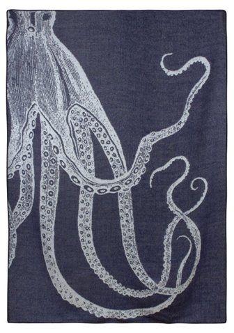 Navy Blue Alpaca Throw with Octopus Print by Thomas Paul