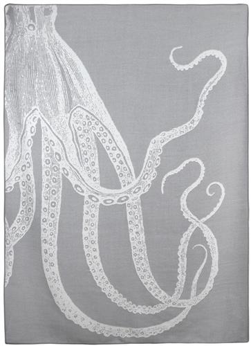 Gray Alpaca Throw with Octopus Print by Thomas Paul