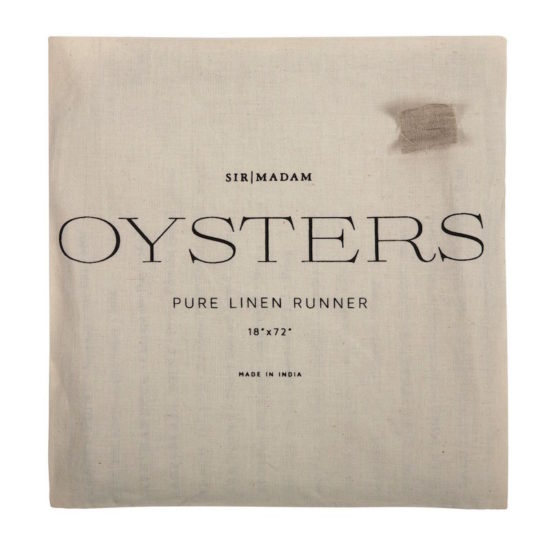 Outer packaging of the Sir Madam Oyster List Table Runner