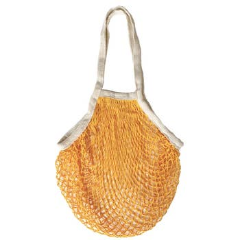 Tangerine Mesh French Market Tote from Pillowpia with Natural Straps